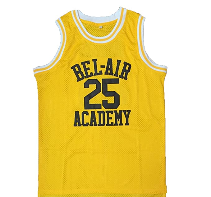 f5a74fd51057 Amazon.com  MyPartyShirt Carlton Banks  25 Yellow Basketball Jersey Fresh  Prince of Bel Air Academy Gift  Clothing