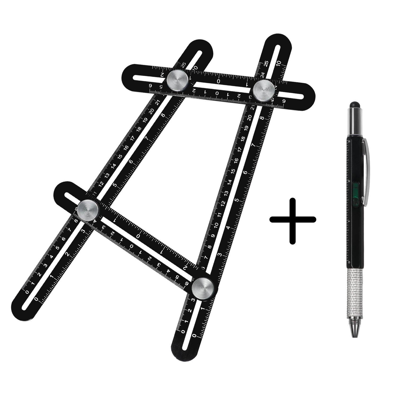 Multi Angle Measuring Ruler, Hinmay Premium Aluminum Alloy Template Tool with Full Metal Multi-Tool Pen, Ultimate Metal Measurement Instrument for Woodworking Masonry Carpentry Brickwork