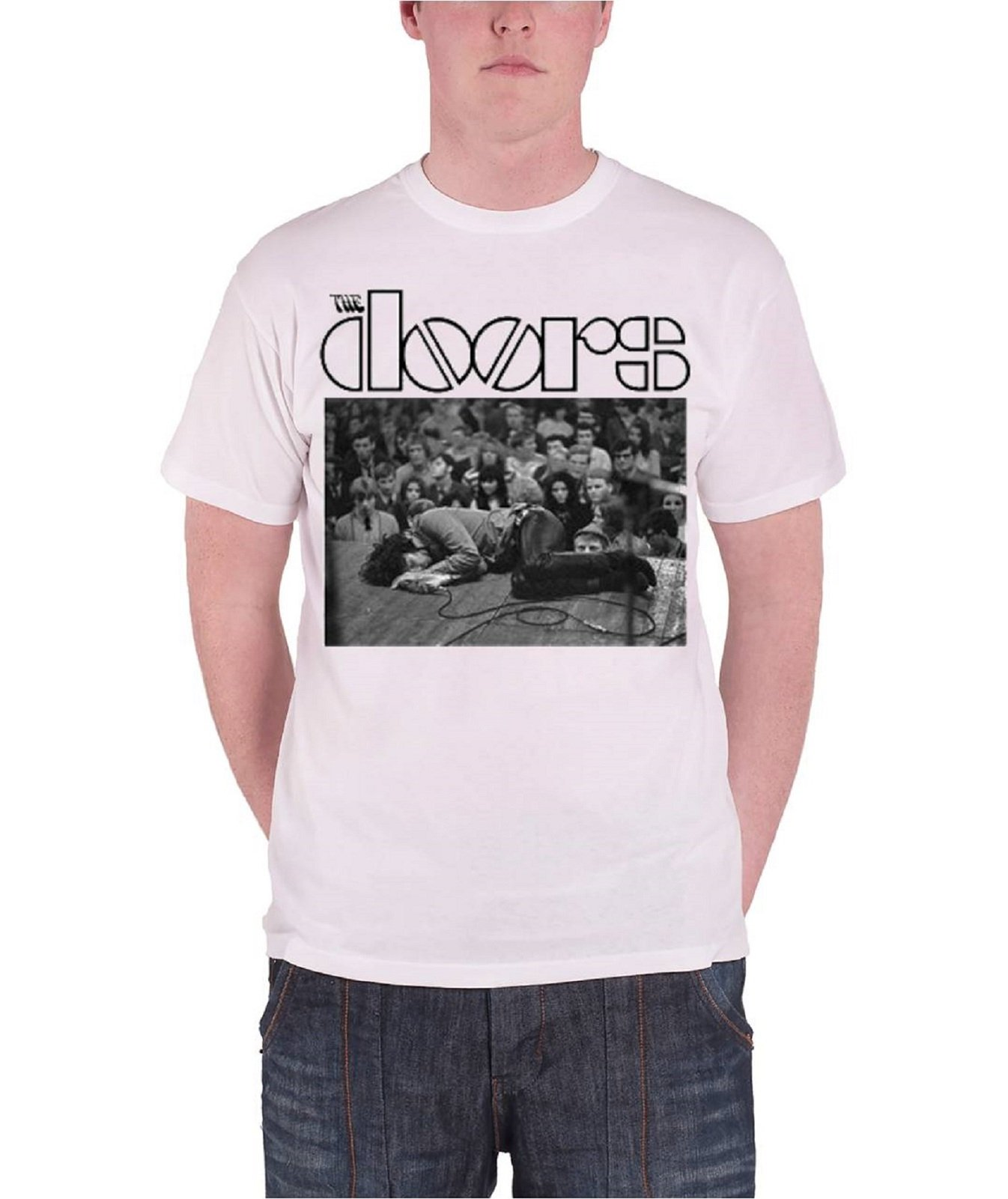 The Doors T Shirt Jim On Floor Band Logo S