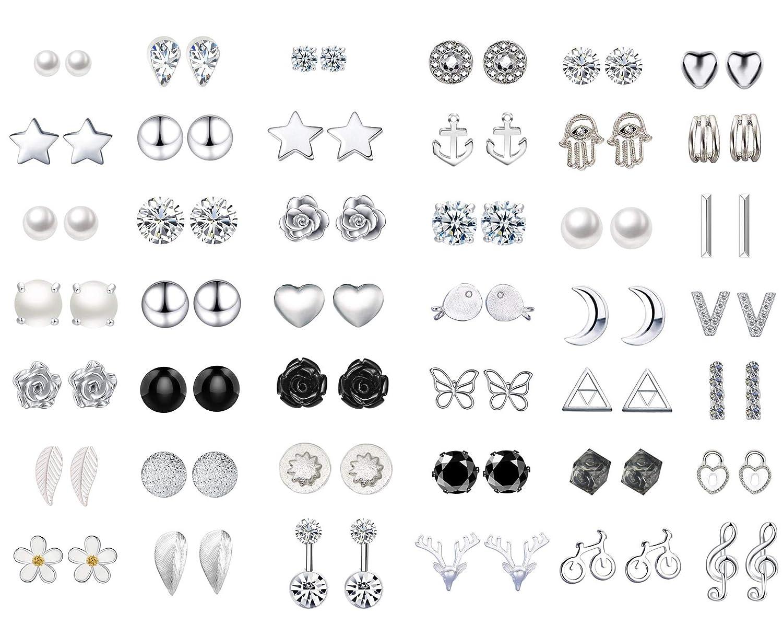 42 Pairs Stud Earrings set Assorted Multiple Vintage for Women Girls Simple Hoop earring set Womens Girls jewelry