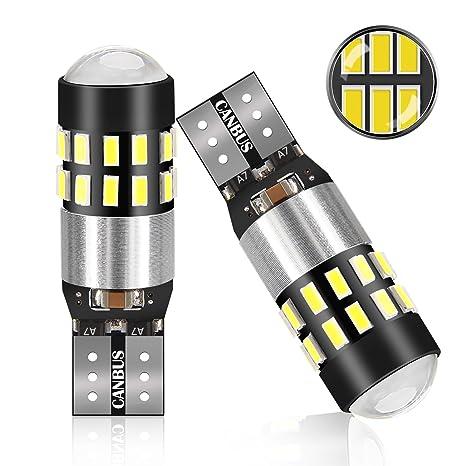 2x T10 W5W 4 3014 LED Coche Luz Bombilla,POMILE luz de Estacionamiento del Auto