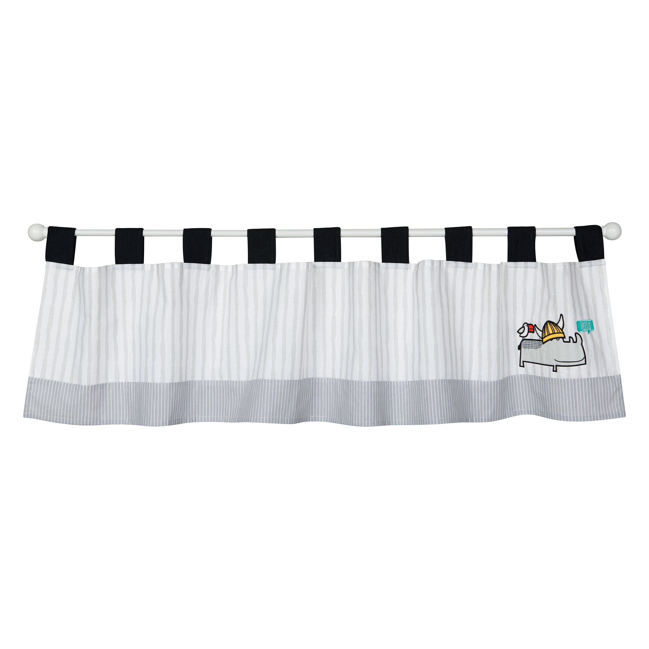 Trend Lab Hello Window Valance, Gray and White