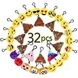 BUDI No-repeated Emoji Keychains Fashion Party Favors Mini Plush Pillows for Kids and Adults Party Packs (32 Pcs)