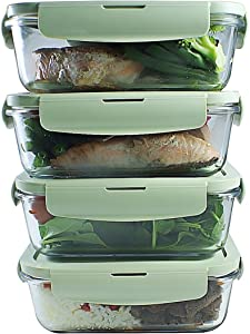 Glass Meal Prep Containers (4-Pack)| Airtight Glass Food Storage Containers with Extra Air Vent Lid | Portion Control Leakproof Glass Lunch Container | BPA-FREE, Freezer, Oven, Microwave Safe, 28 oz