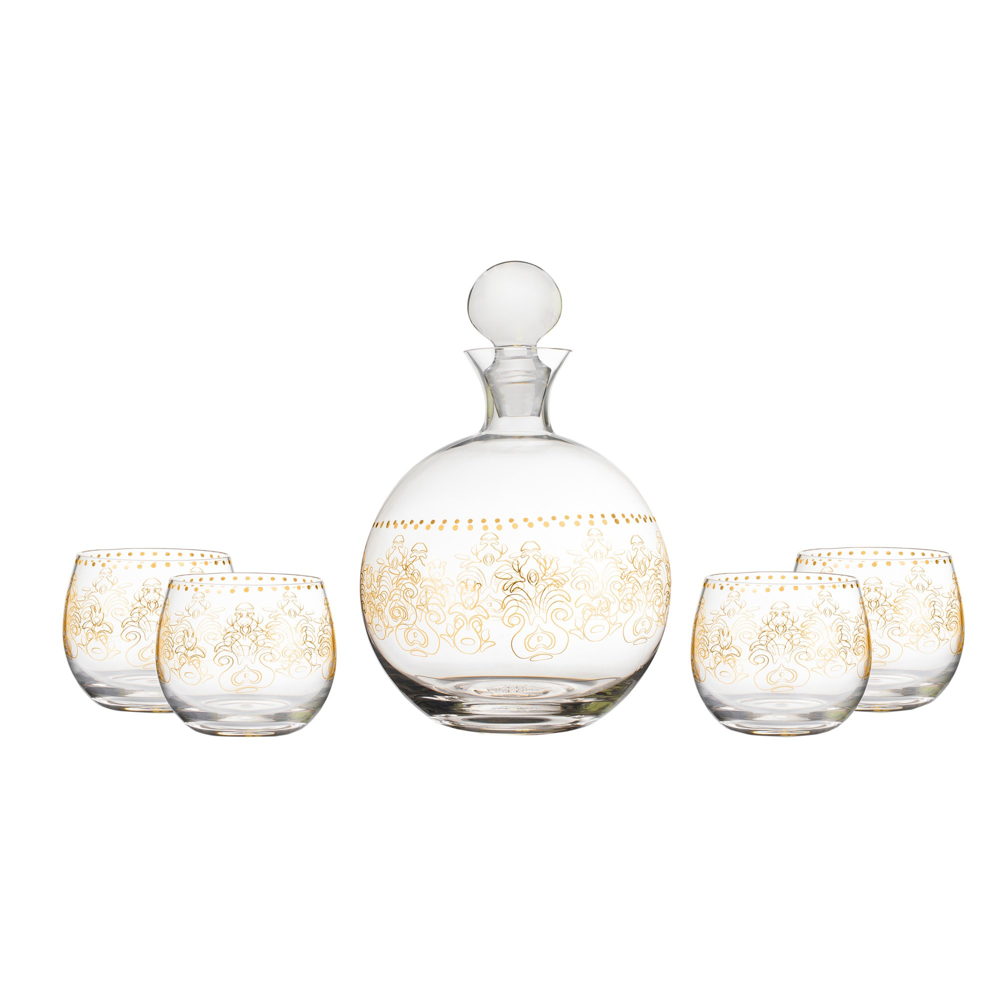 Fifth Avenue Crystal 210325-5 Round Lace 5 Piece Decanter Set, Gold