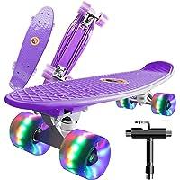 "Monopatín Completo Mini Cruiser Skateboard 22"" Retro Skate Board para Niños Adolescentes Adultos, Ruedas con Luz LED y…"