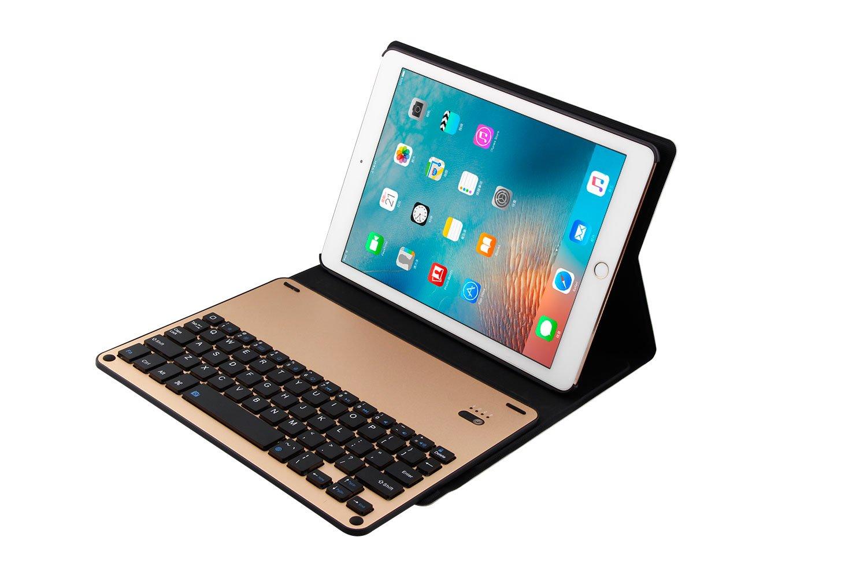 新入荷 Gaurdeen キーボードケース Apple iPad用 プレミアム iPad プレミアム PUレザー スタンドカバー FT1038 取り外し可能なアルミニウム製Bluetoothキーボード付き iPad Air1/ Air2/ Pro9.7, 2017 iPad and 2018 iPad対応 FT1038 ゴールド B07L92QS5R, カミカワチョウ:7e0d1d6b --- a0267596.xsph.ru
