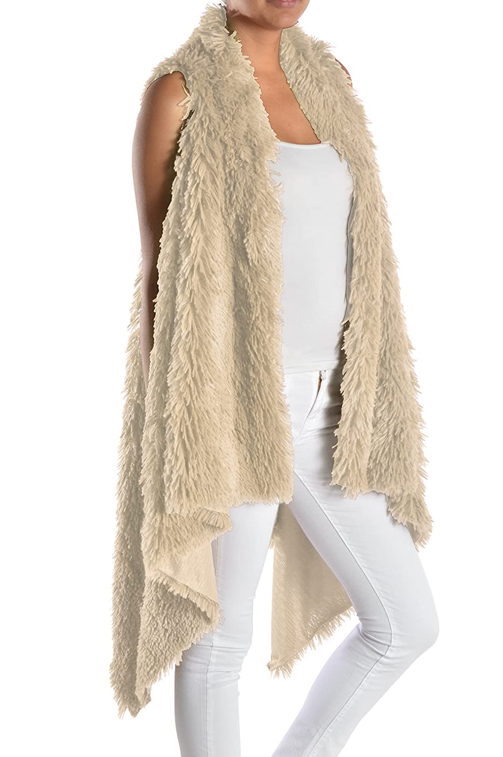 Triple9shop Women's 100% Warm Faux Fur Long Vest Fluffy Cardigan ...