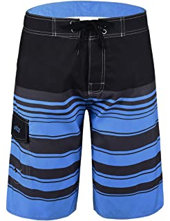 d1264d0c42 Unitop Men's Beachwear Surf Trunks Striped Printed Fast Dry with Side Pocket