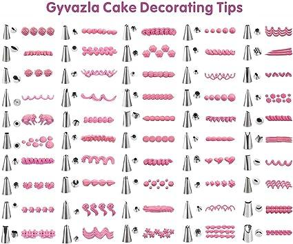 Compatibles avec Une Grande Vari/ét/é de Douilles Gyvazla Poches /à Douilles Silicone Cupcakes 2 Tailles Diff/érentes Poches R/éutilisables pour la Pr/éparation de G/âteaux Cookies P/âtisseries
