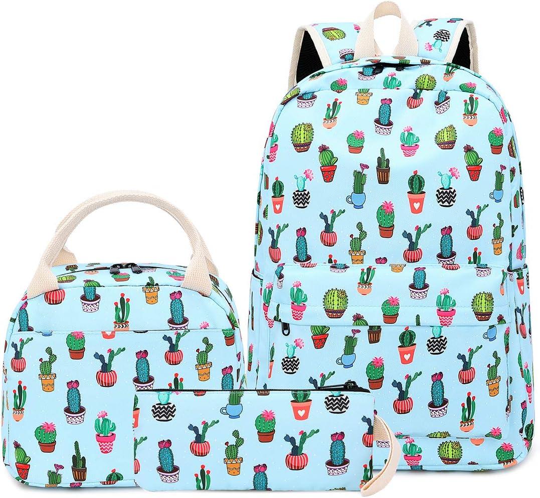 BLUBOON School Backpack Set Teen Girls Bookbags Laptop Backpack Kids Lunch Tote Bag Clutch Purse (Cactus-Light Blue)