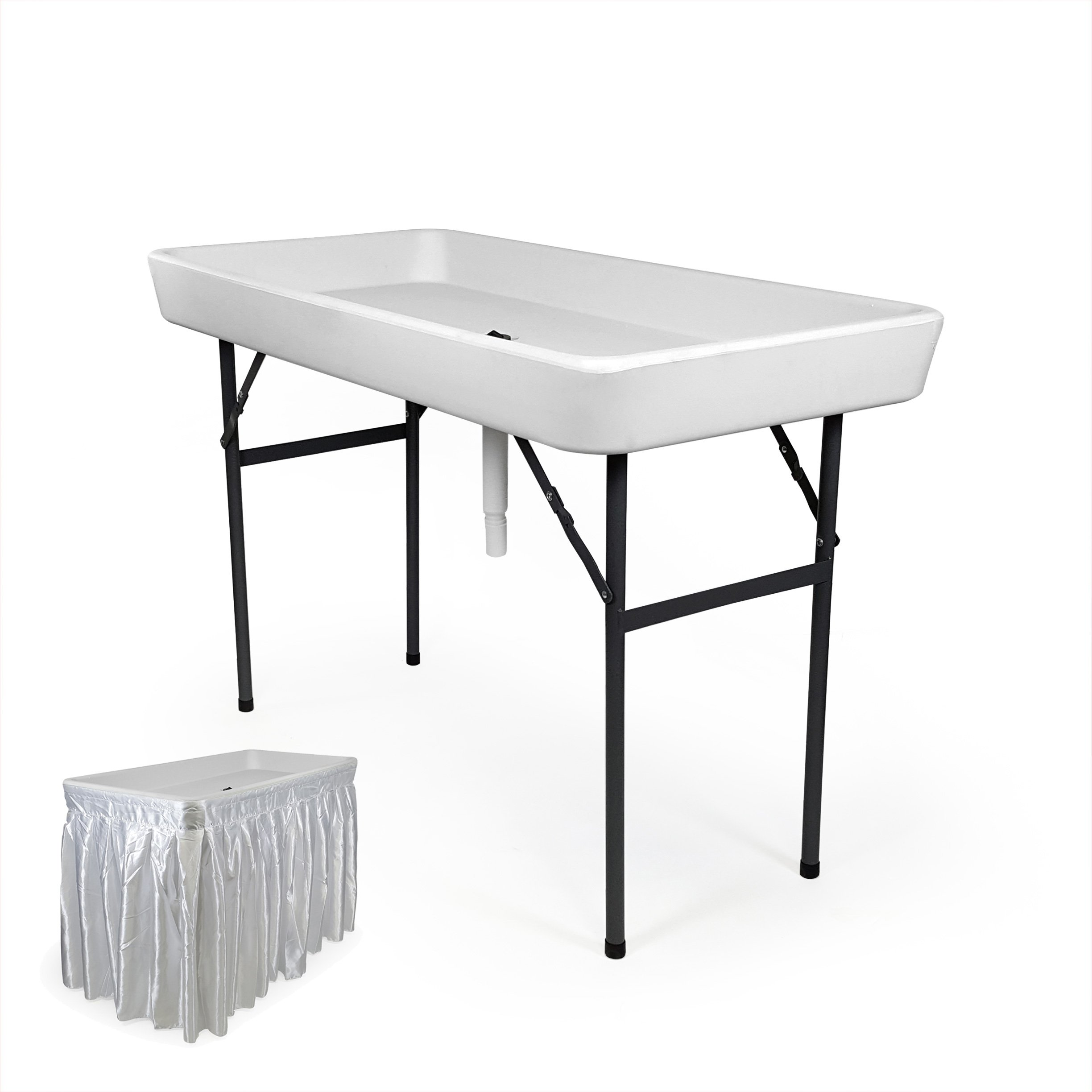 4 Foot Cooler Ice Table Party Ice Folding Table with Matching Skirt - White