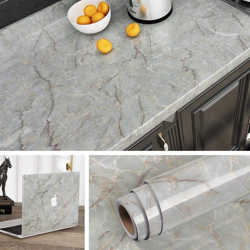 Livelynine Contact Paper 24 Inch Wide x 197 Inch Green Marble Countertop Adhesive Paper Waterproof Marble Wallpaper Peel and Stick Countertops for Kitchen Bedroom Desk Cabinet Table Sticky Counter Top