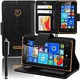 VCOMP® Microsoft Nokia Lumia 435/ 435 Dual SIM: Etui portefeuille cuir PU Livre rabat support vidéo + stylet - NOIR