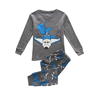 bcd6def8 Amazon.com: Boys Pajamas Cotton Long Sleeves Toddler Jet Aircraft ...