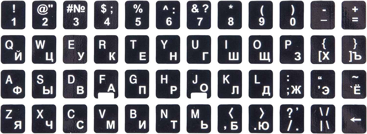 Replacement Keyboard Stickers on Non Transparent Black Background for Any PC and Laptop KOR 2 Packs