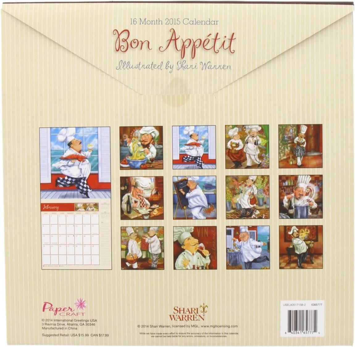 Ravinia 2022 Calendar.Amazon Com 1 X Bon Appetit Chef 2015 Calendar By Shari Warren 16 Month Wall Calendar Office Products