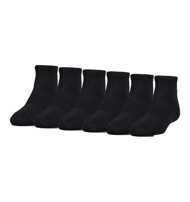 Under Armour Boy`s UA Charged Cotton 2.0 Quarter Socks 6pk 13.5K-4Y Blk//Gray