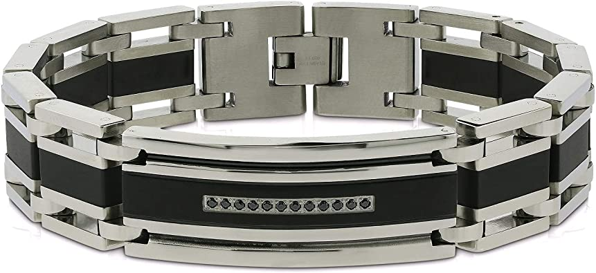 0.15 cts AX Jewelry Mens Diamond Black Tungsten Carbide ID Bracelet