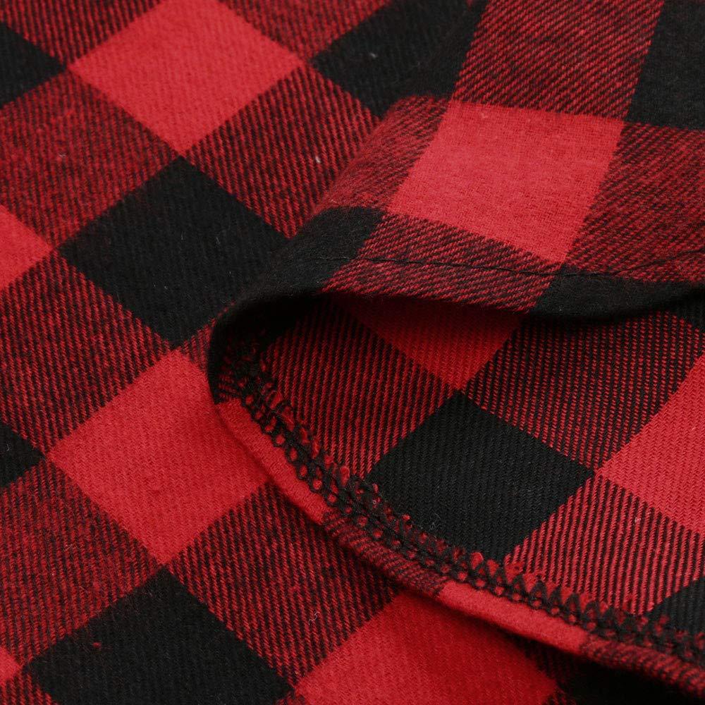 Ansenesna Familien Outfit Mutter Tochter Winter Rot Elegant Kariert Winter Langarm Tops Freizeit Soft Kleidung