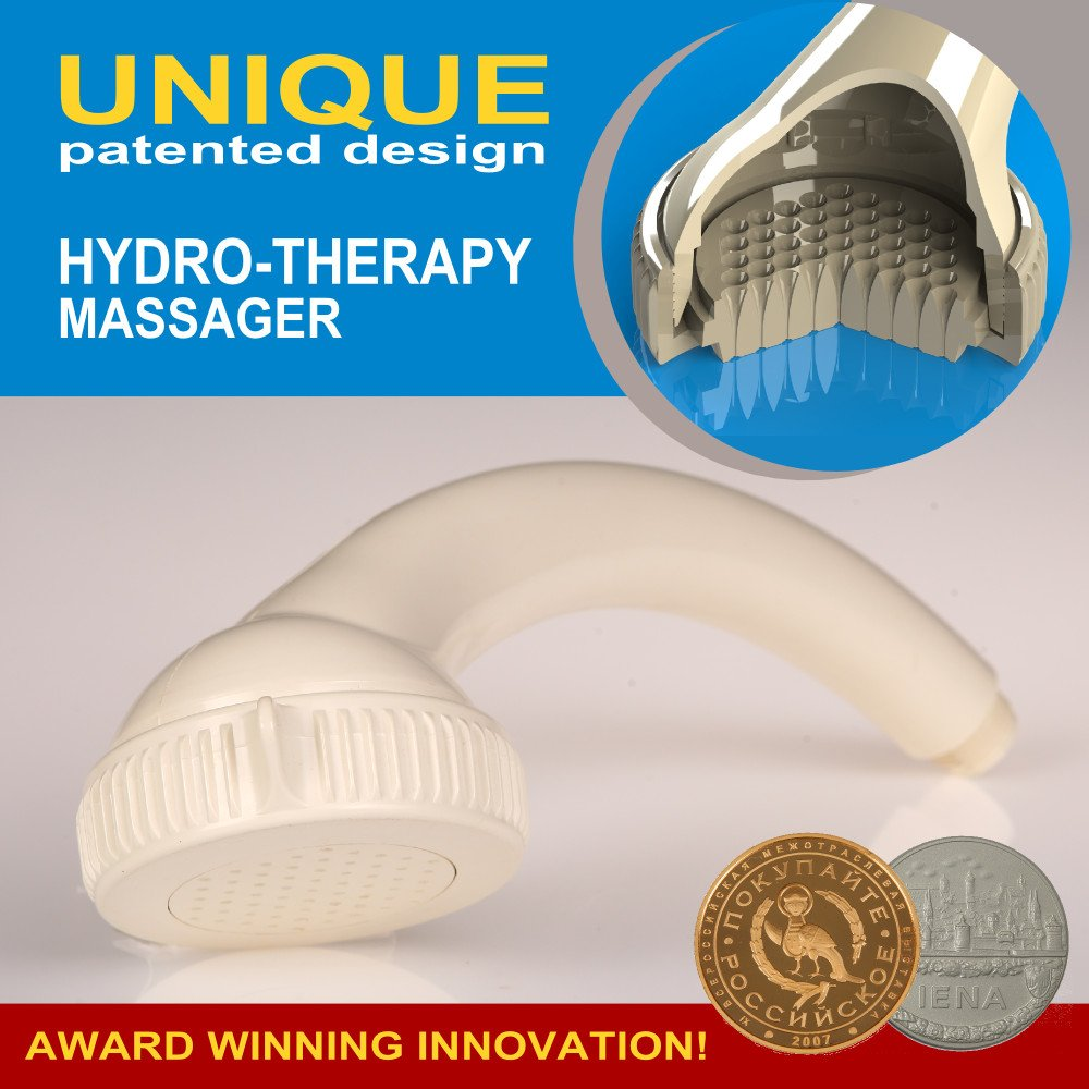 New Generation Hydrotherapy Massager - Alekseev Shower. Unique Conoid Nozzles Patented Design. (White)