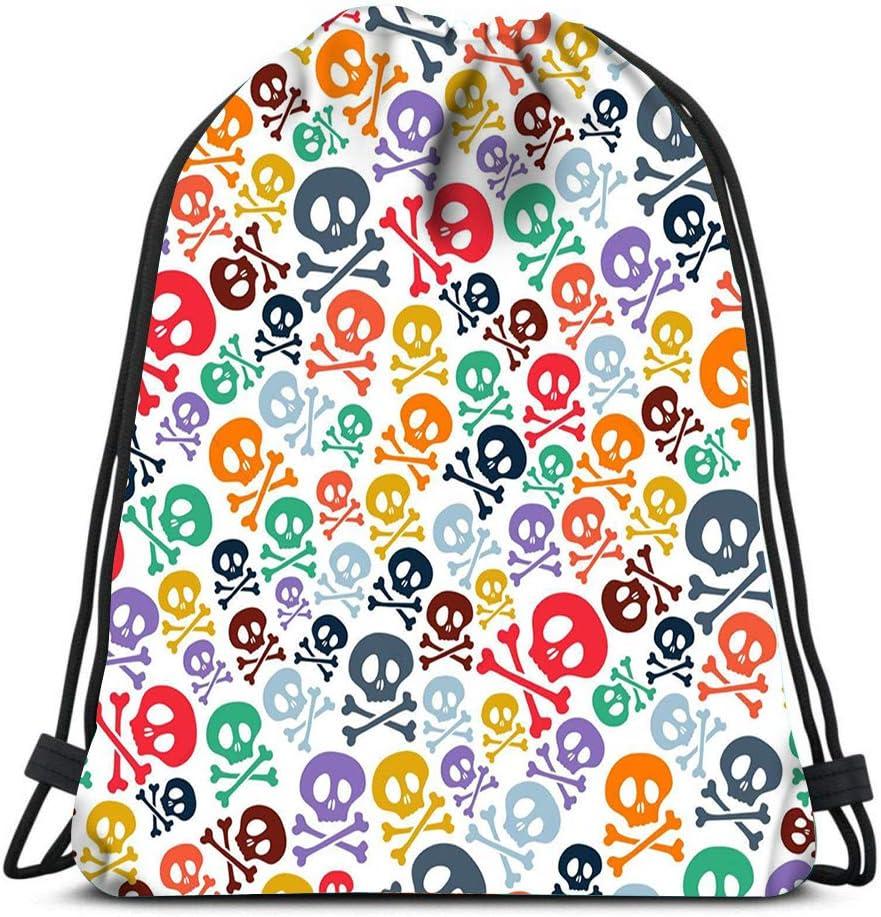 Drawstring Bags Backpack Cute Colorful Skulls And Crossbones Halloween Travel Gym Bags Rucksack Shoulder Bags