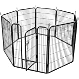 RayGar® Large Heavy Duty Strong 8 Piece Indoor Outdoor Dog Pen Cage Whelping Pen Fence Run Exercise Playpen 80x100cm - New