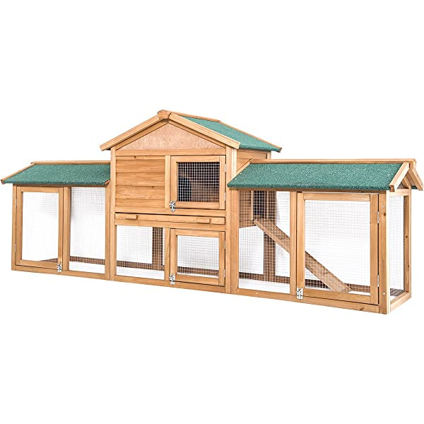 Merax 85 Rabbit Hutch, Chicken Coop Wooden Hen Pet Bunny House Outdoor/Indoor for Small Animals 2-Story
