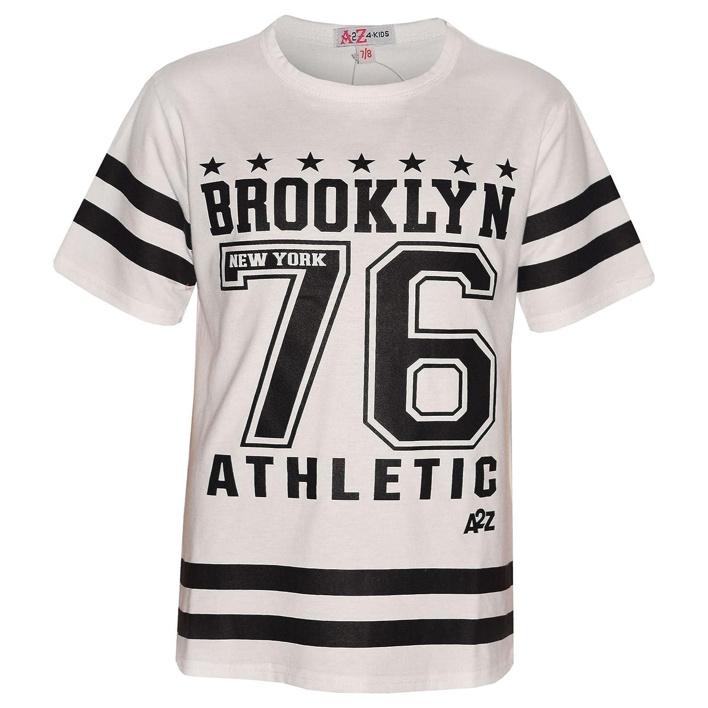 A2Z 4 Kids/® Girls Top Kids Designers Brooklyn New York 76 Athletic Print Stylish Fashion Trendy T Shirt Top New Age 7 8 9 10 11 12 13 Years