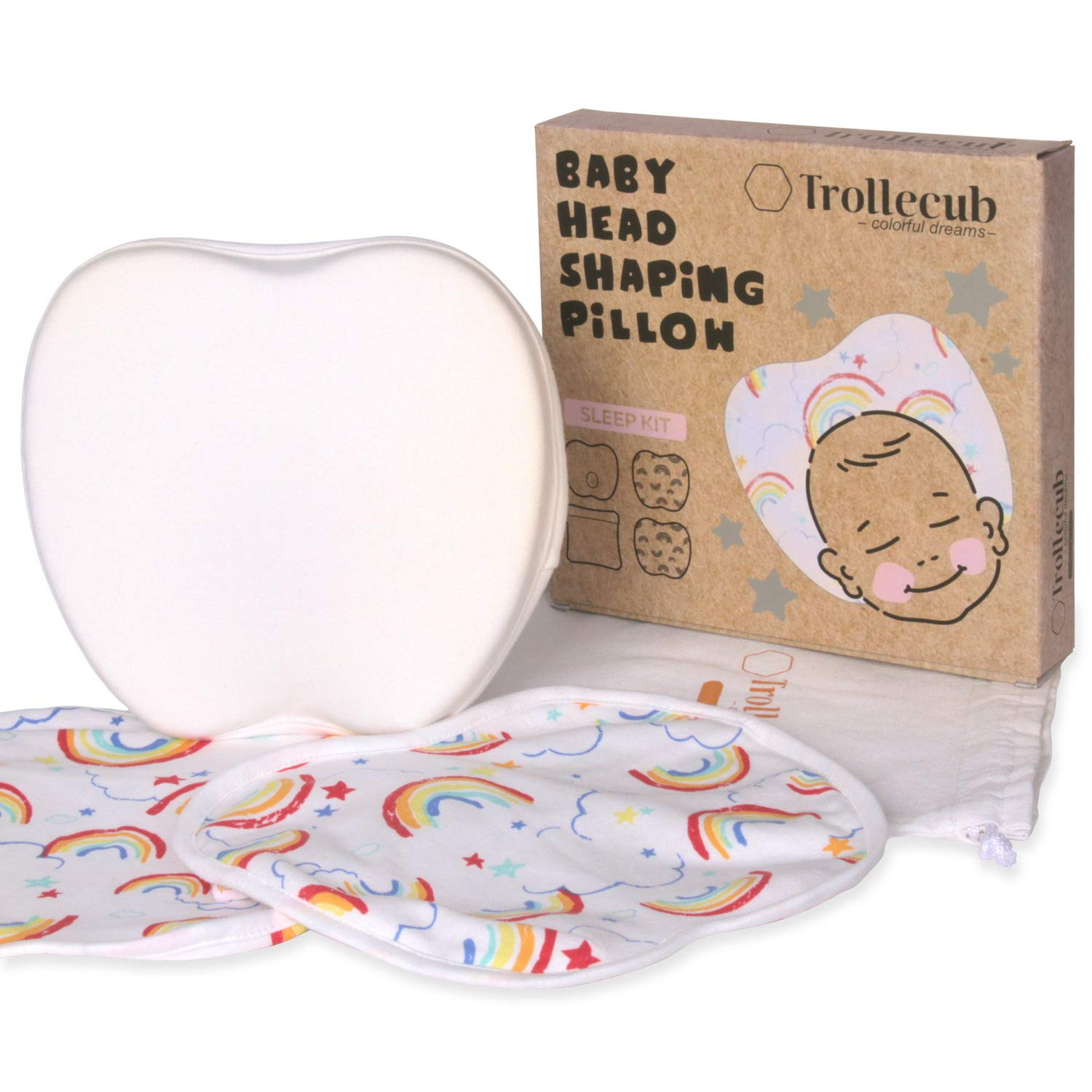 Trollecub Flat Head Baby Pillow Set with 2 Machine-Washable Cotton Cases, Premium Packing and Travel Bag, Newborn Head Shaping Pillow with Soft Memory Foam, Plagiocephaly Syndrome Prevention