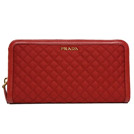 biggest discount terrific value on sale online Prada 1M0506 Wallet in Stitched Quilted Pattern Red Fuoco Leather and Nylon