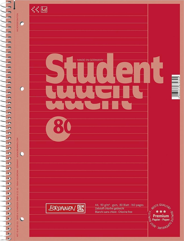 negro Brunnen 1067925190 Bloc de notas para estudiantes 80 hojas 90 g//M /²- 25 A4 forrado