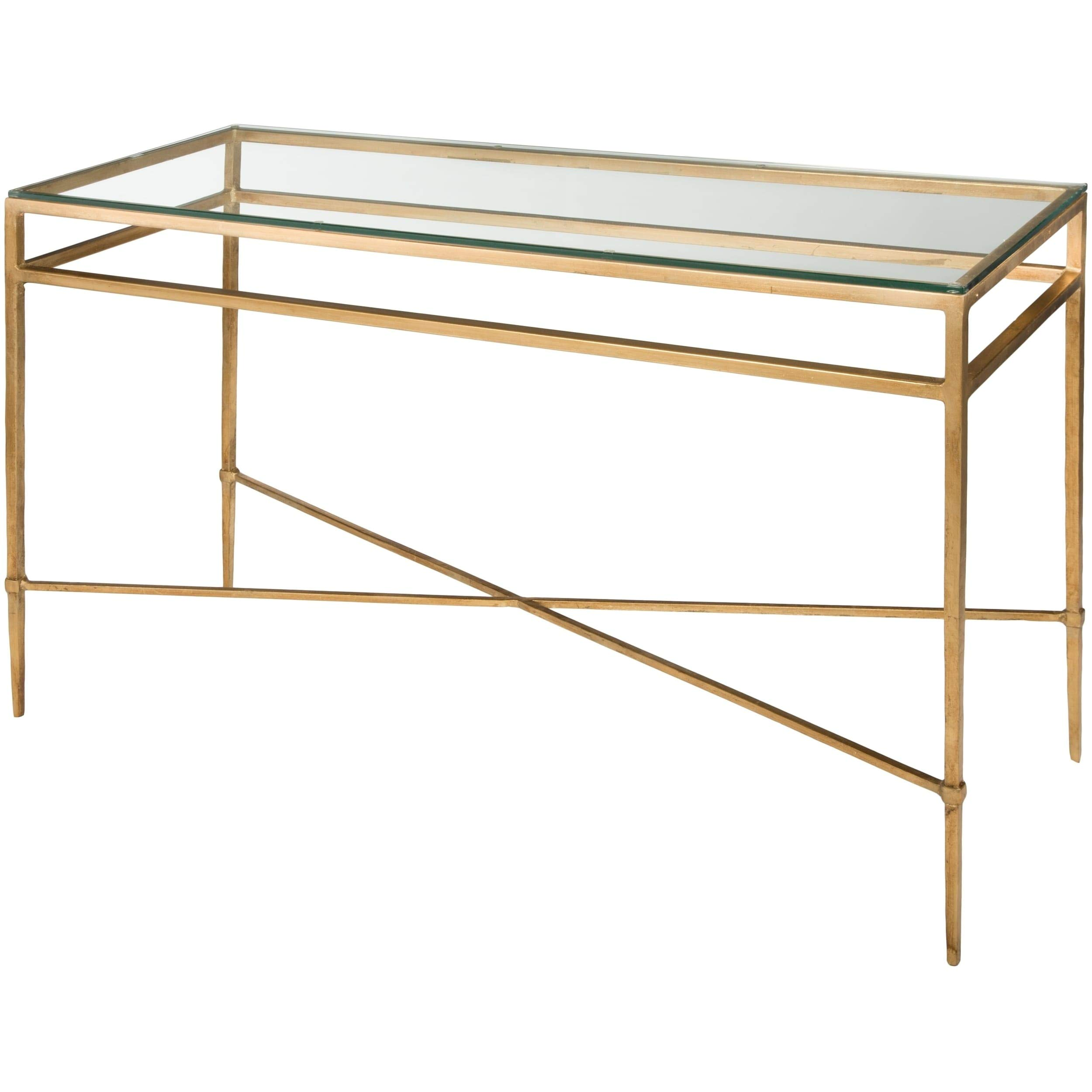 Safavieh American Homes Collection Baumgarten Antique Gold Glass Couture Console Table by Safavieh