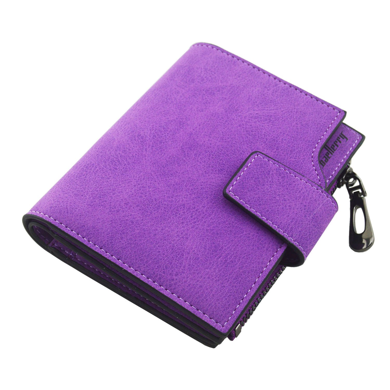 IU COMP Baellerry Women's Matte Leather Short Hasp and Zipper Wallet,Purple