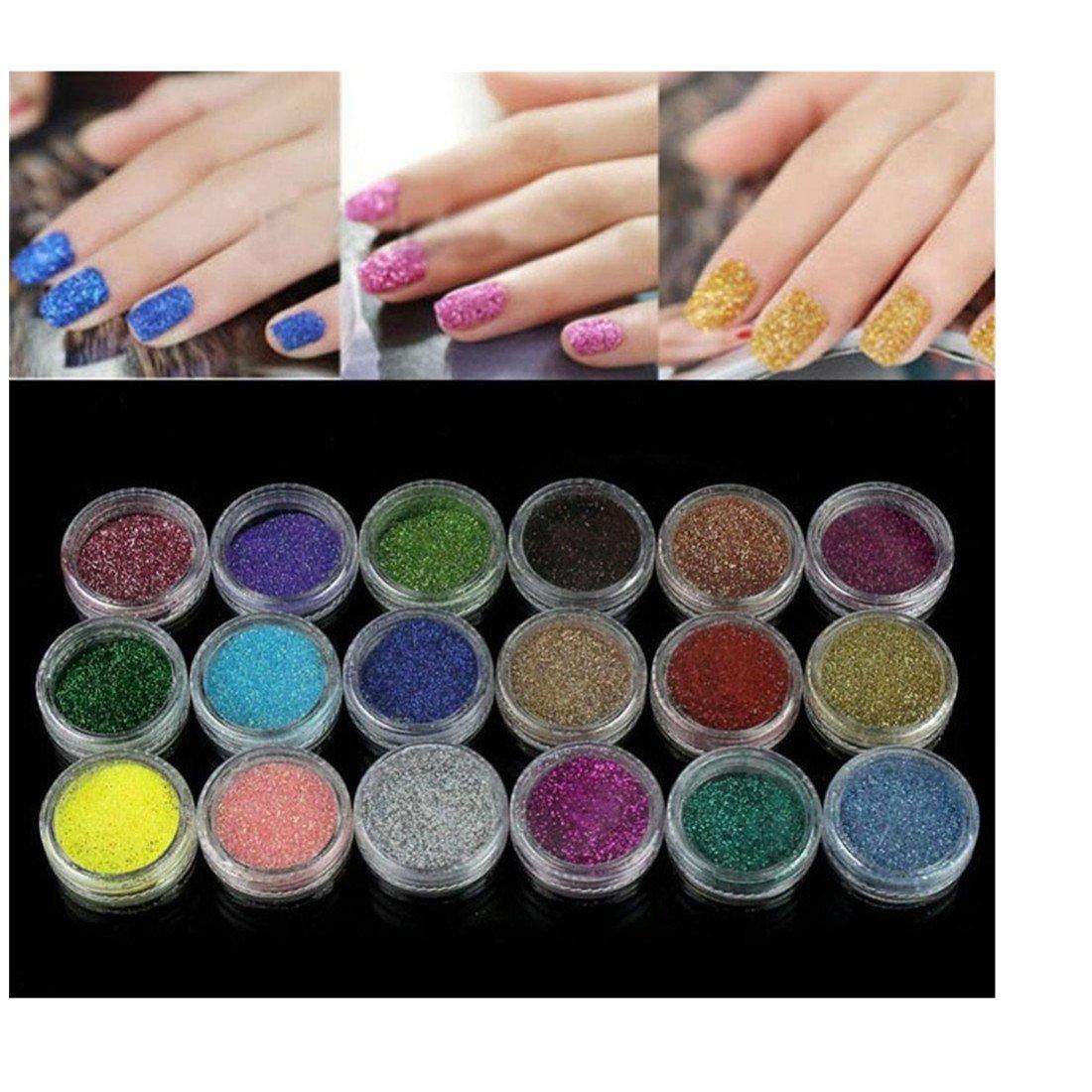 Nail Art Tools Kit Set, 18 Colors Kingfansion Nail Art Glitter Powder For UV GEL Acrylic Powder Decoration Tips
