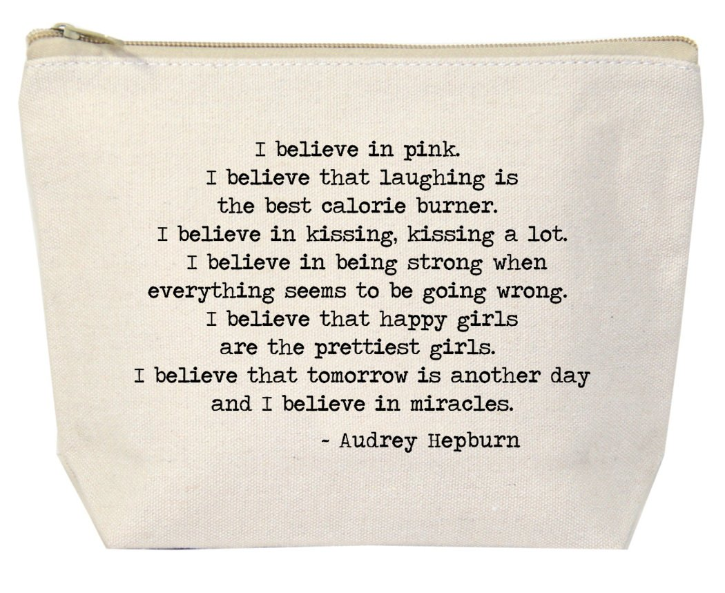 Jules Natural Canvas Tote Bag With Zipper Closure ''I Believe In Pink'' Audrey Hepburn Quote
