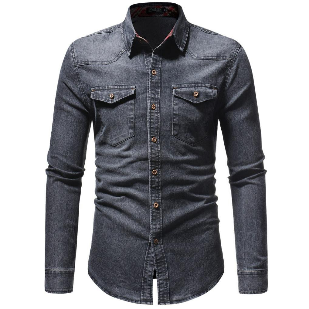 Men's Denim Shirts Clearance Sale vermers Men Autumn Winter Vintage Distressed Solid Long Sleeve Top Blouse(L, Gray)