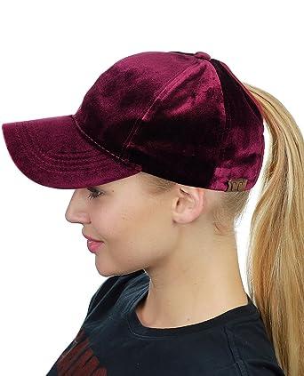 c96391a8df3 C.C Ponycap Messy High Bun Ponytail Soft Velvet Adjustable Baseball Cap Hat