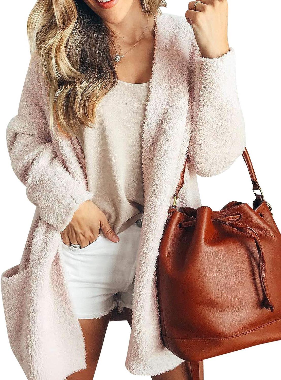 Auxo Women's Fuzzy Fleece Open Front Long Cardigan Sherpa Jacket Coat Outerwear with Pockets