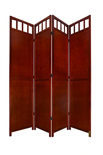 Legacy Decor 3 or 4 Panel Solid Wood Room Screen Divider Walnut 4 Panels