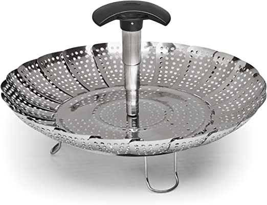 GA Homefavor Lotus Stainless Steel Steamer Basket Vegetable Steamer with Extendable Handle?Bigger Size 7 to 11?