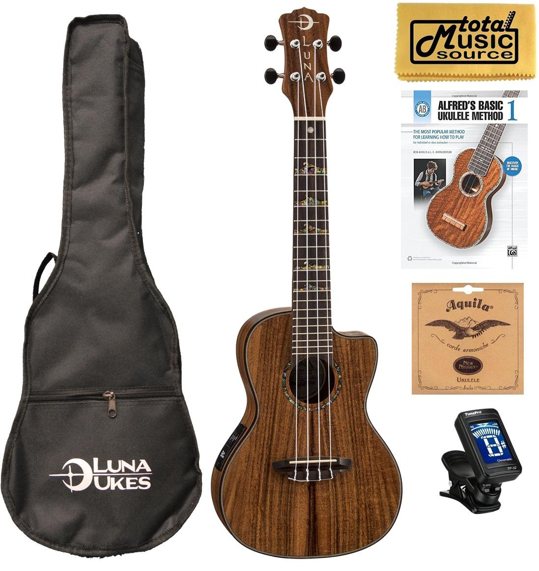 Luna High Tide Series Koa Concert Ukulele w/Gigbag,Tuner,Strings,Book & PC