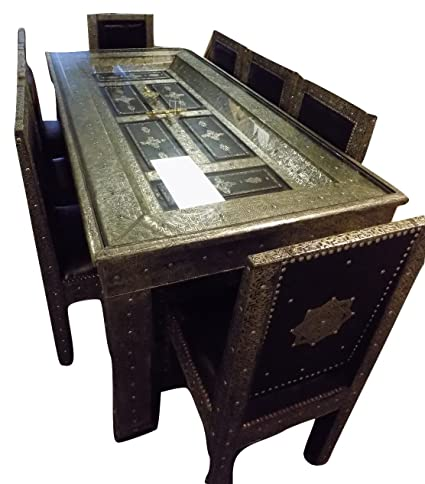 Moroccan Furniture Bazaar Metal And Leather Arabesque Carved Door Dining  Table And 8 Chairs