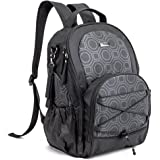 Large Baby Diaper Backpack, Evecase Lightweight Multi-function Waterproof Travel Organizer Nursing Nappy Bag with Stroller Straps, Changing Pad for Both Mom & Dad - Black