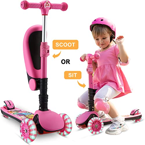 SANSIRP 2-in-1 Kick Scooter for Kids, 3 Wheel Scooter with Folding Removable Seat Adjustable Height Light Up Wheels for Toddlers Girls Boys 2-12-Years-Old