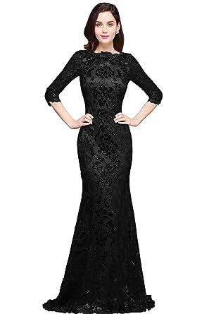 Babyonline Womens 34 Sleeve Sequin Mermaid Evening Dress Long