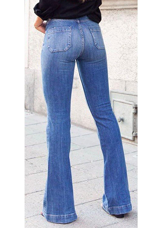 Fanvans De las Mujeres Jeans Denim Pantalones Acampanados Regular Recto Cintura Alta