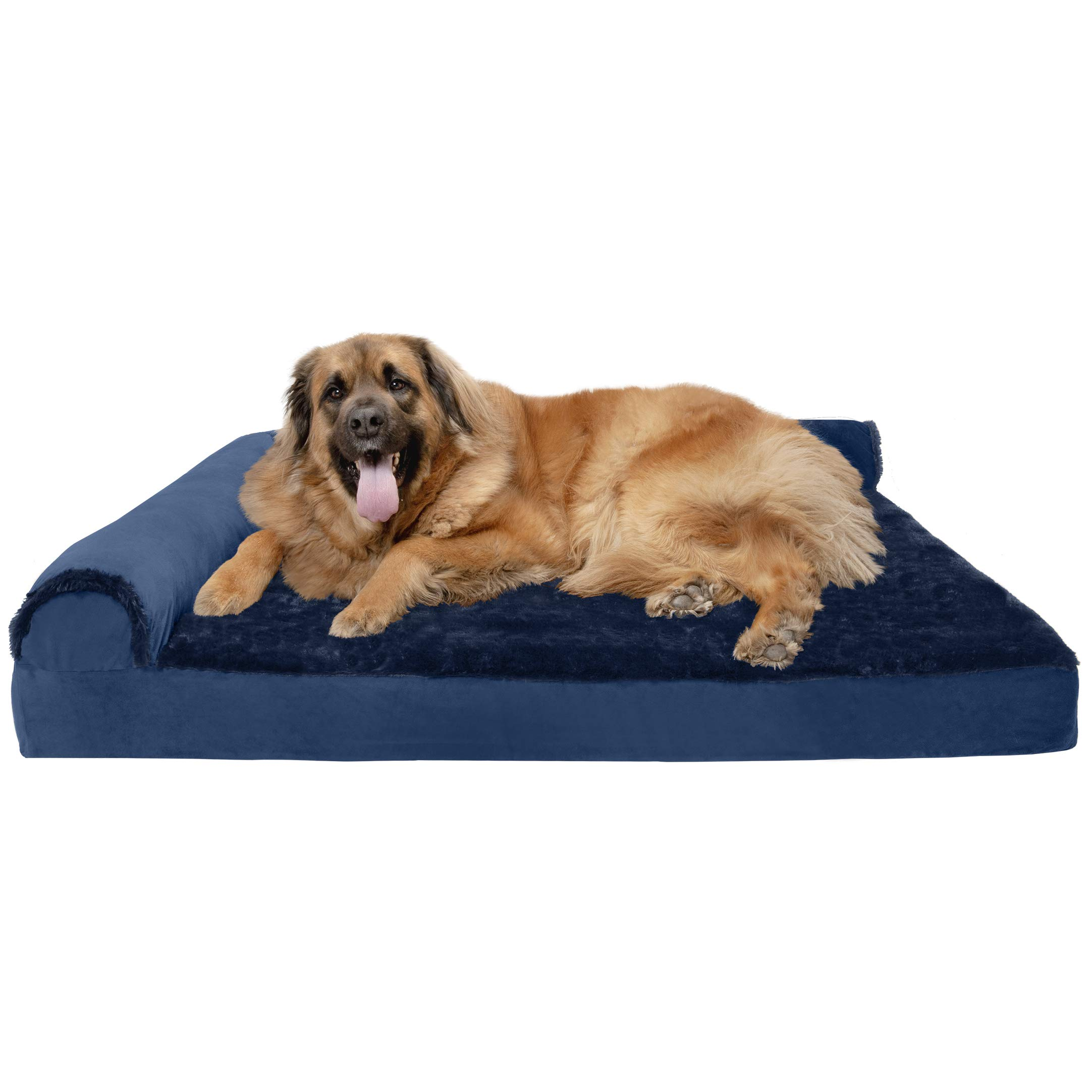 Furhaven Pet Dog Bed | Deluxe Orthopedic Plush Faux Fur & Velvet L Shaped Chaise Lounge Living Room Corner Couch Pet Bed w/ Removable Cover for Dogs & Cats, Deep Sapphire, Jumbo Plus by Furhaven