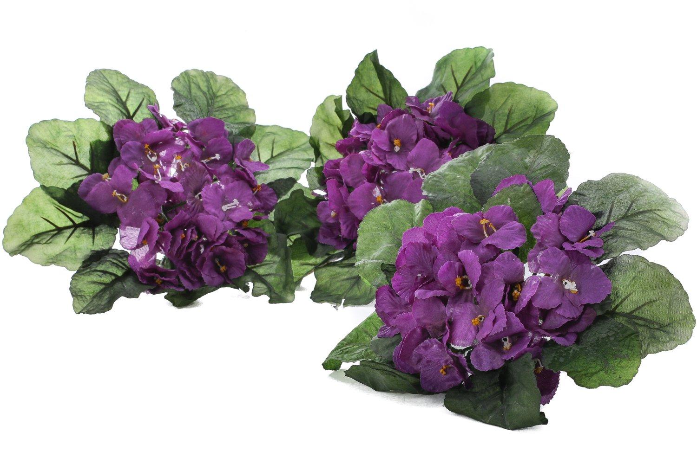 Amazon Purple African Violet Artificial Silk Flower Bushes 3