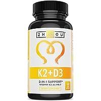 Vitamin K2 (MK7) with D3 Supplement - Vitamin D & K Complex - Bone and Heart Health Formula - 5000 IU Vitamin D3 & 90 mcg Vitamin K2 MK-7-60 Small & Easy to Swallow Vegetable Capsules